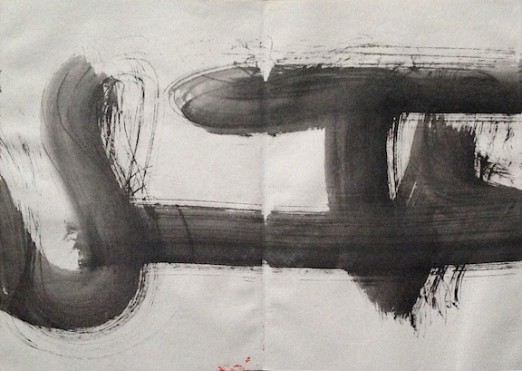 black and white abstract ink painting