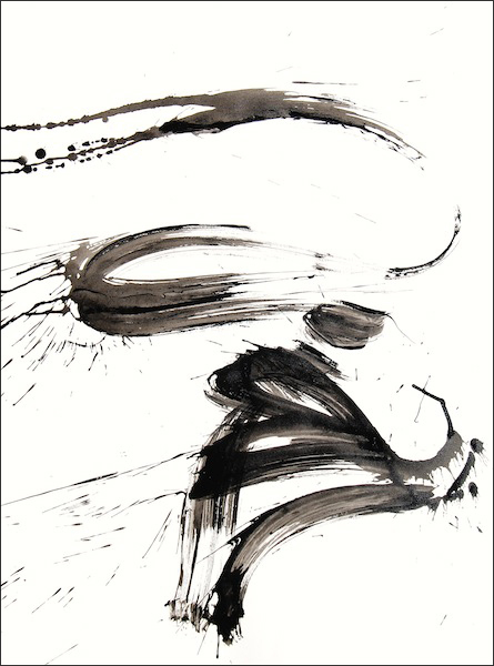 black and white ink painting, modern calligraphy, abstract art