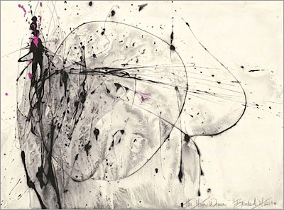 American abstract artist, action painting, black and white abstract painting